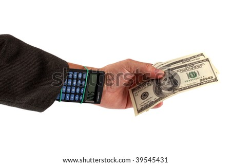Money in a hand - the calculator in a sleeve isolated on the white background