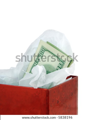 Money in a red gift box against a white background.