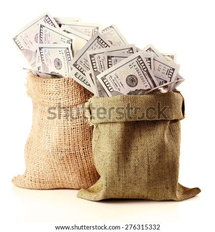 Money in bags isolated on white - stock photo