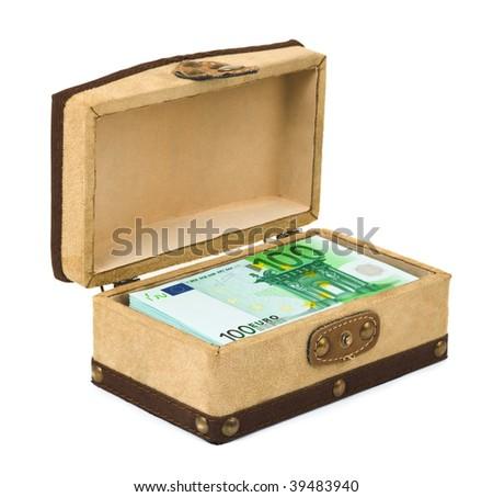 Money in box isolated on white background - stock photo
