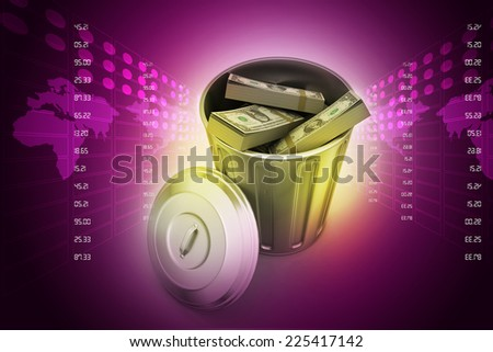 Money in dustbin   - stock photo