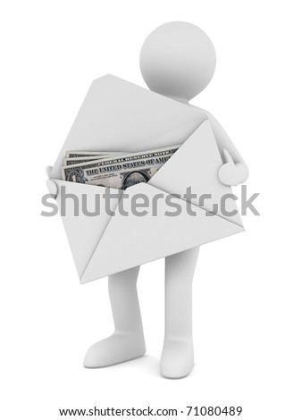 Money in envelope on white background. Isolated 3D image - stock photo
