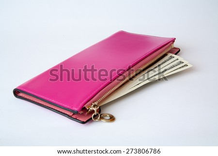 Money in female red leather purse isolated on white background - stock photo