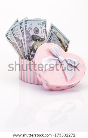 money in gift box - stock photo