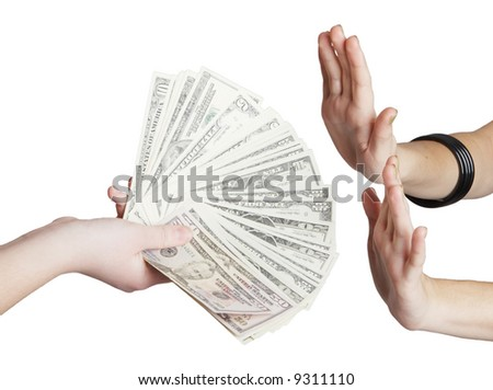 money in hand over white background - stock photo