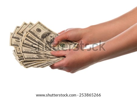 Money in human hands on white background