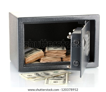 Money in open safe isolated on white - stock photo