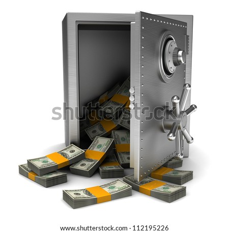 Money in open safe isolated on white background - stock photo