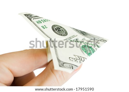 money in the fingers isolated on white - stock photo