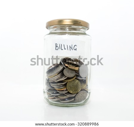 Money in the glass with white background