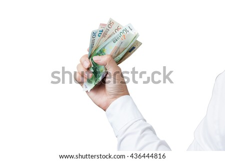 Money in the hand (Hand with money, Hand holding Banknotes), have clipping path. - stock photo