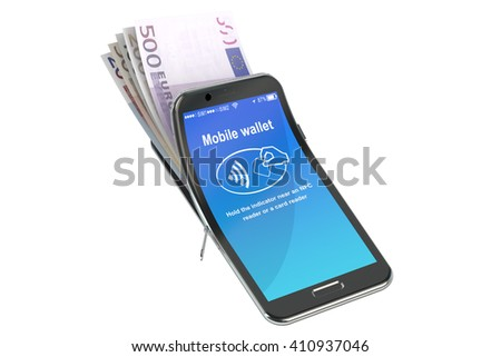 Money in the mobile phone, NFC concept. 3D rendering - stock photo