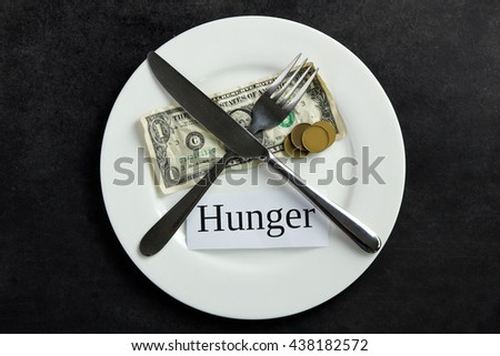 "money in the plate on a black background with Cutlery and a piece of paper with the words ""Hunger"". The concept of poverty"