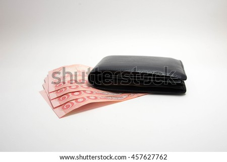 Money in wallet,isolated on white background - stock photo