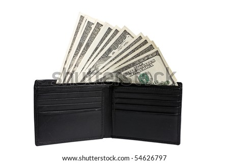 money in wallet isolated on white close up - stock photo