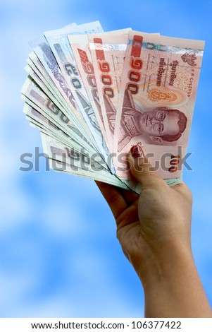 Money in your hand. - stock photo