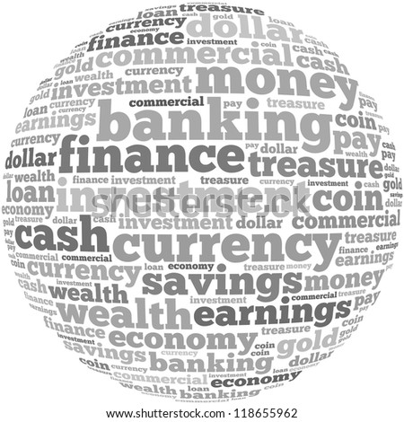 Money info-text graphics and arrangement concept on white background (word cloud)