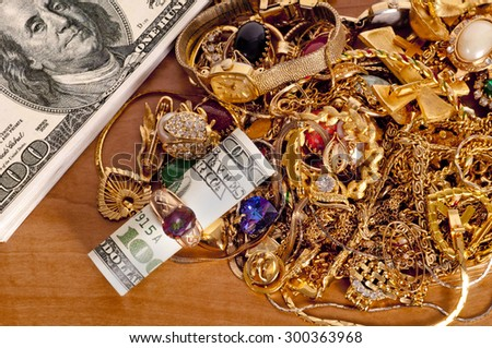 Money Inside Ring Cash Gold Jewelry Stock Photo Royalty Free