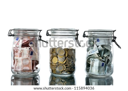 money jar with euro currency - stock photo