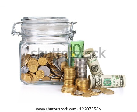 Money jar with savings, isolated on white