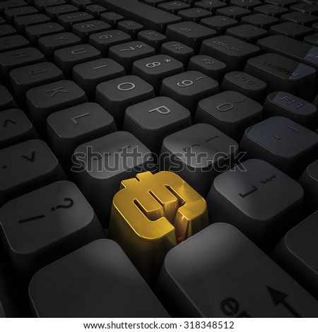 Money key euro / 3D render of computer keyboard with gold euro key - stock photo