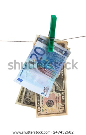 money laundering concept. isolated on white background - stock photo
