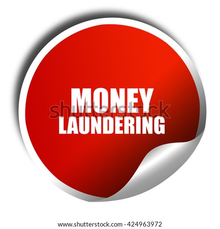 money laundering, 3D rendering, red sticker with white text - stock photo