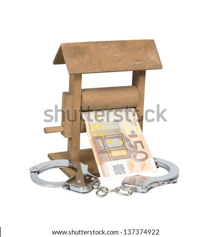 Money laundering. Euro bill in the wringer with handcuffs isolated over white, clipping path included. - stock photo