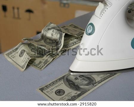 Money laundering in warehouse - stock photo