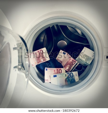 money laundering retro style - stock photo