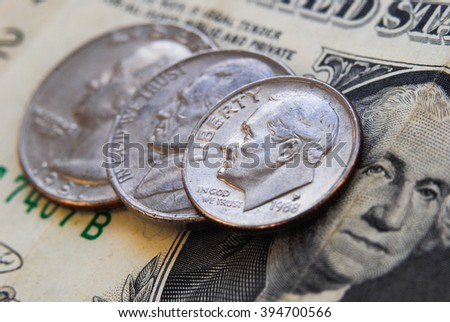 Money lies on a table - stock photo