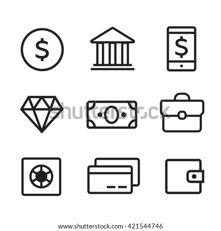 Money line icons set. Money finance, credit card bank, commerce currency coin, cash money - stock photo