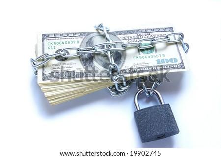money locked a chain - stock photo