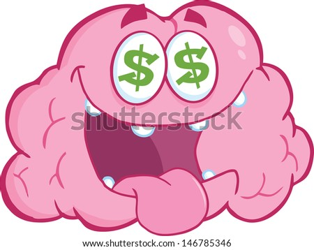 Money Loving Brain Cartoon Character. Vector version also available in gallery - stock photo