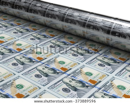 money machine print new dollars - stock photo