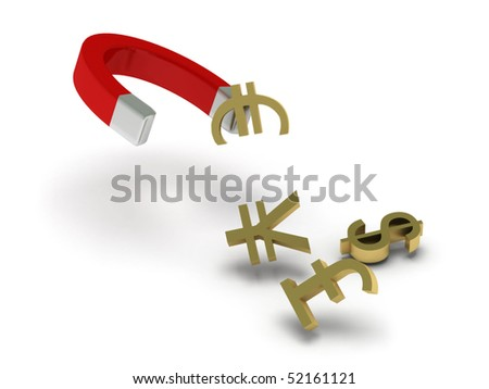 Money magnet. Magnet and money signs isolated on white background. High quality 3d render. - stock photo