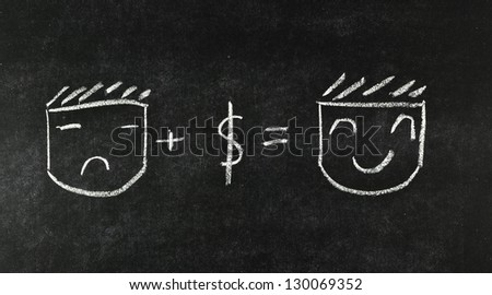 money make me smile concept drawing on blackboard - stock photo