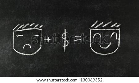 money make me smile concept drawing on blackboard - stock photo