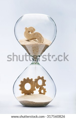 Money makes the world go round. Capitalism. Dollar sign flowing down in hourglass resulting cooperation - stock photo
