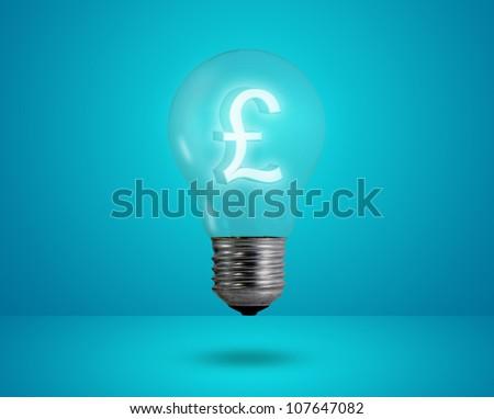 Money making idea. Light bulb with Pound symbol. - stock photo