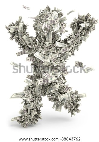 Money man. Moneybags. One hundred dollars - stock photo