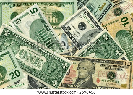 Money of different denominations - stock photo