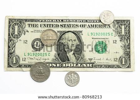 money of USA isolated on white - stock photo