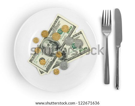 money on a plate isolated on a white background - stock photo