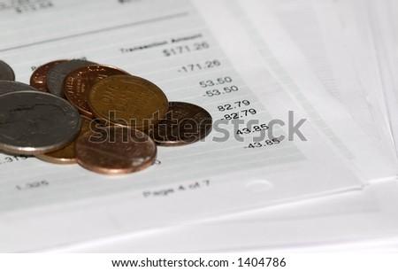 Money on Bank Statements - stock photo