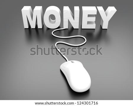 Money online. 3D rendered Illustration. - stock photo