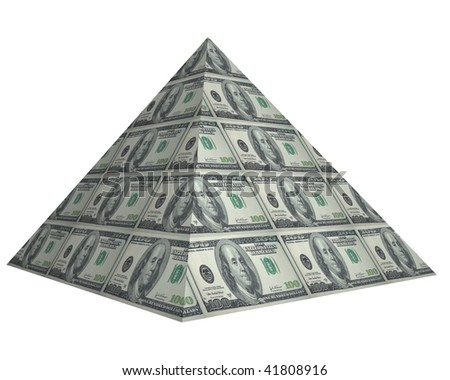 Money origami pyramid shape illustration - stock photo