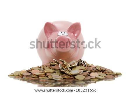 Money pig isolated over white - stock photo
