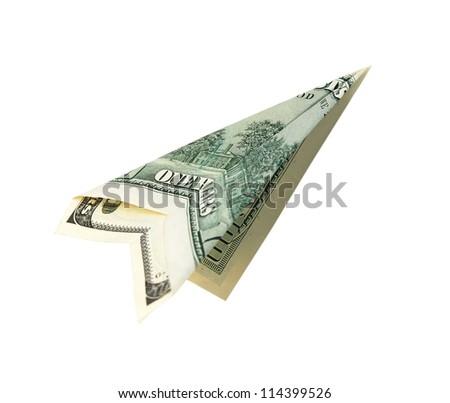 Money plane isolated on white background - stock photo