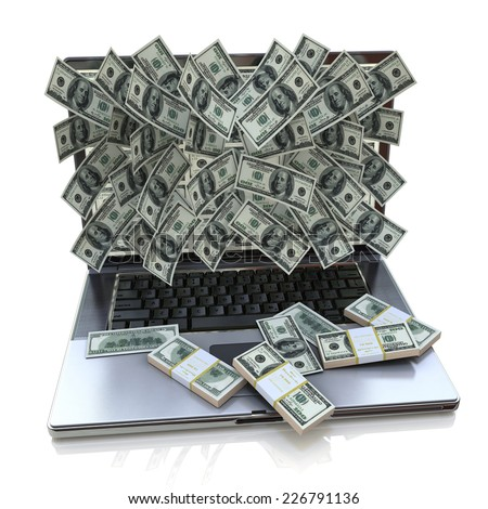 Money pouring out from laptop, Online earnings - stock photo